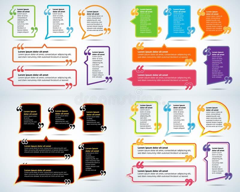 Calibres de blanc de citation de couleur Bulle de citation Calibre vide Entourez le calibre de carte de visite professionnelle de illustration de vecteur