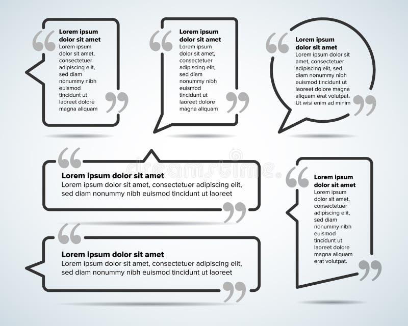 Calibres de blanc de citation de couleur Bulle de citation Calibre vide Entourez le calibre de carte de visite professionnelle de illustration stock