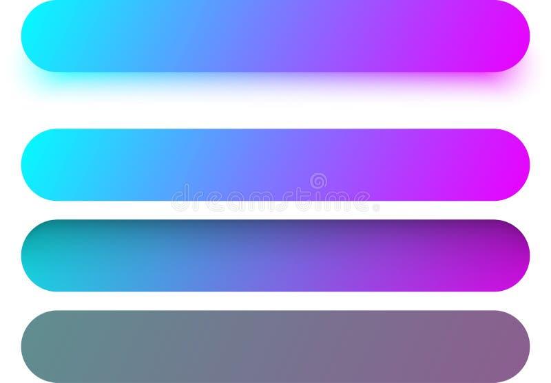 Calibres de bouton de Web de couleur d'isolement sur le blanc illustration stock