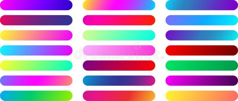 Calibres de bouton de Web de couleur d'isolement sur le blanc illustration libre de droits