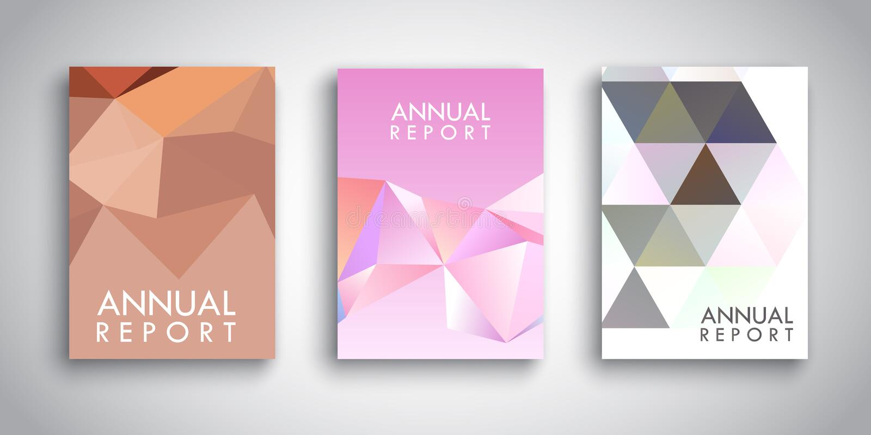 Calibres de brochure avec de basses poly conceptions abstraites illustration stock