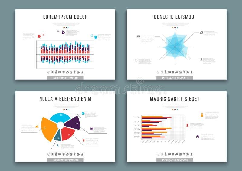 Calibres de brochure avec des éléments de conception d'infographics Ensemble de vecteur de diagrammes, de graphiques, de diagramm illustration de vecteur