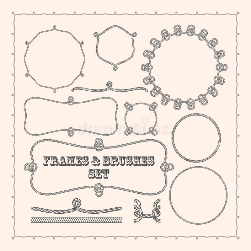Calibres de cadre de vecteur et brosses de corde Collection d'élément de conception illustration de vecteur