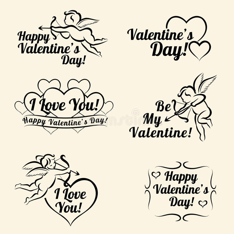 Calibres de carte de vintage de jour de valentines des bannières illustration stock