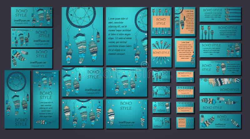 Calibres de carte de visite professionnelle de brochure et de visite de conception de Boho avec le dreamcatcher, flèche, éléments illustration libre de droits