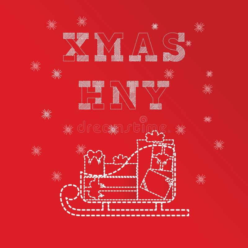 Calibres de carte de voeux de Noël et de nouvelle année Série de boîte de cadeaux sur le traîneau Version rouge images libres de droits
