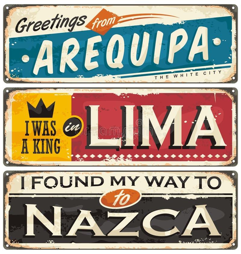 Calibres de carte postale ou de souvenir avec des villes au Pérou illustration de vecteur
