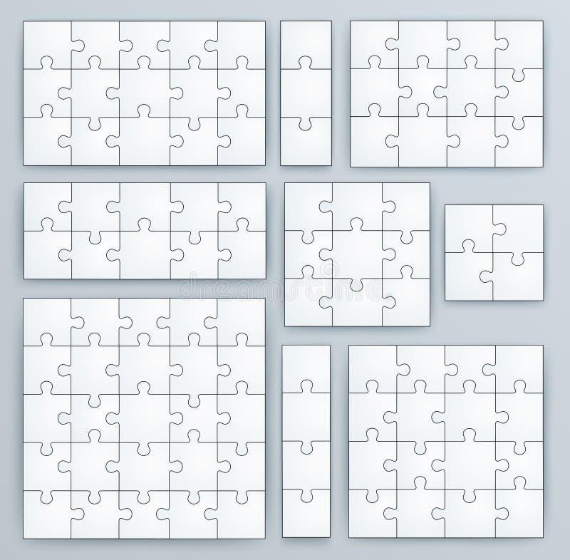 Calibres de casse-tête. Ensemble de morceaux de puzzle illustration stock
