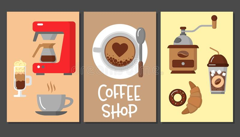 Calibres de conception de café Drapeaux de vecteur illustration de vecteur