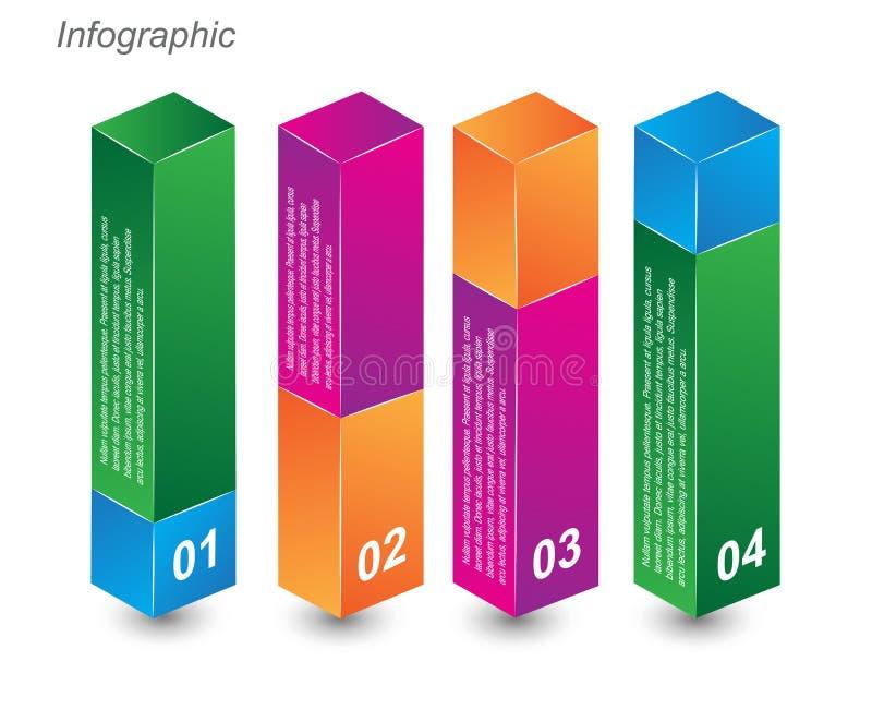 calibres de conception d'Information-graphique sous forme de boîte 3D illustration stock