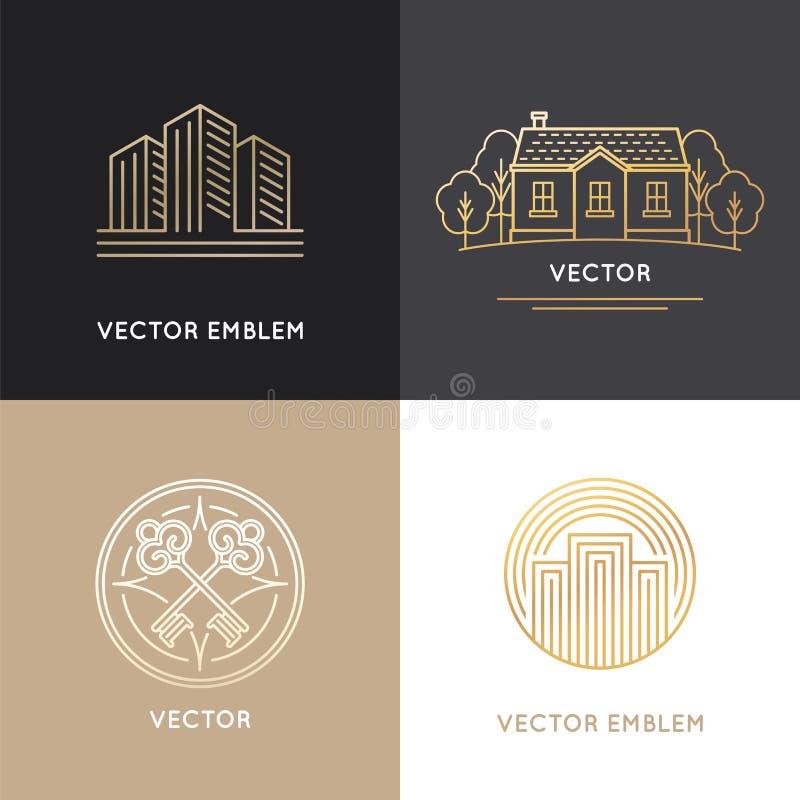 Calibres de conception de logo d'immobiliers de vecteur illustration de vecteur