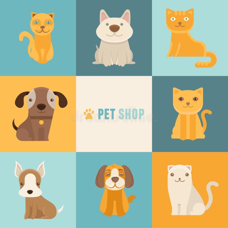 Calibres de conception de logo de magasin de bêtes de vecteur illustration de vecteur
