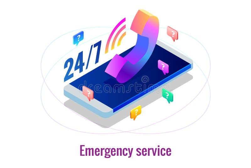 Calibres de conception de page Web pour l'appui 24-7 de centre d'appels Les 24 heures isométriques ouvrent le service client Illu illustration libre de droits