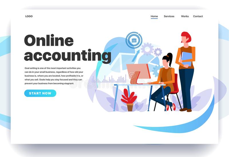 Calibres de conception de page Web pour la comptabilité en ligne illustration de vecteur