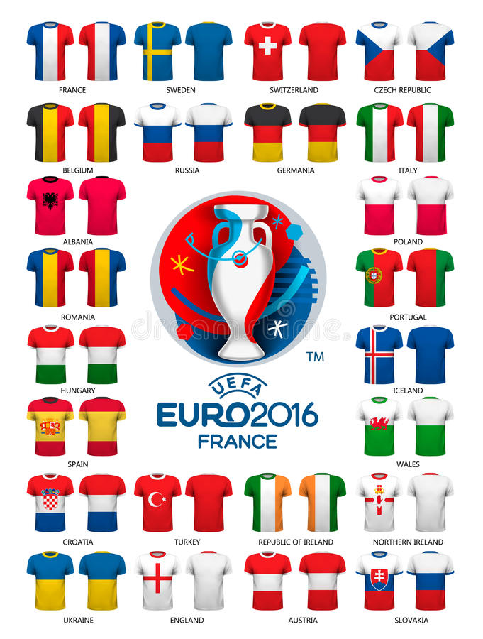 Calibres 2016 de débardeurs du football d'euro illustration stock