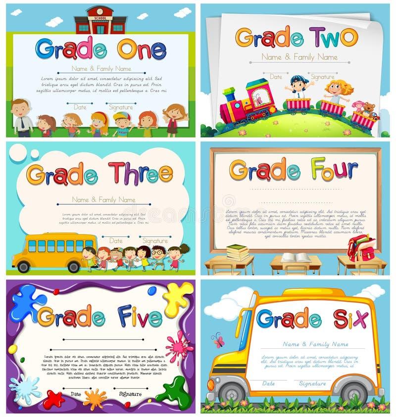 Calibres de diplôme pour l'école primaire illustration de vecteur