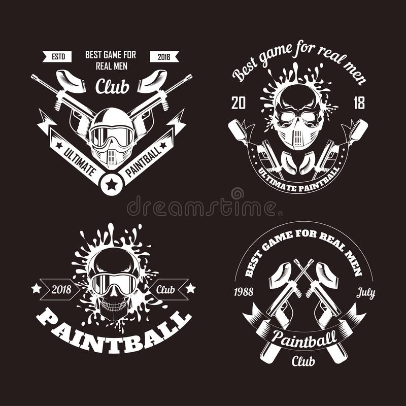 Calibres de logo de club de sport de jeu de Paintball de cible de tir de gamer ou d'arme à feu de boule de peinture illustration stock