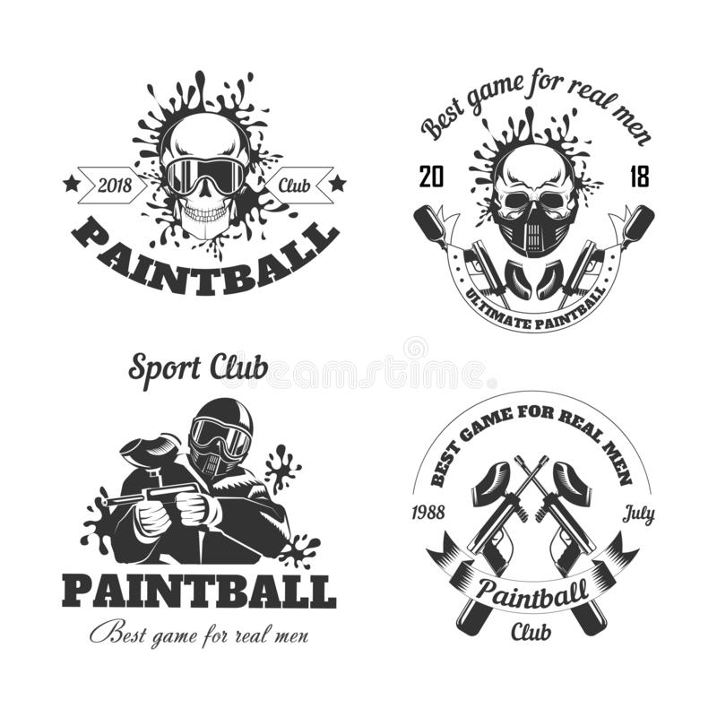 Calibres de logo de club de sport de jeu de Paintball de cible de tir de gamer ou d'arme à feu de boule de peinture illustration stock