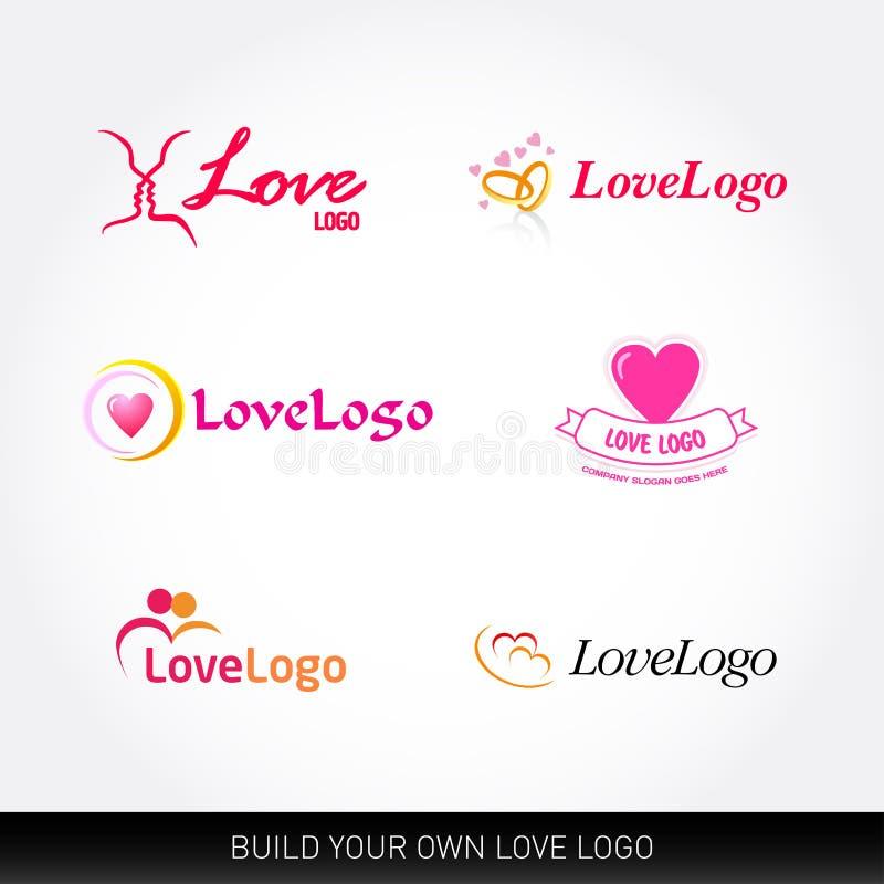 Calibres de logo d'amour Concepts de logotypes d'amour Calibres de logo de mariage Ensemble de vecteur illustration libre de droits