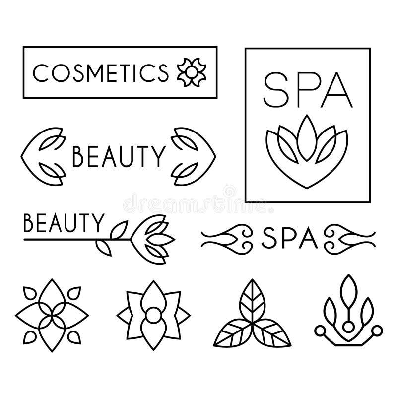 Calibres de logo de beauté et de soin de vecteur illustration libre de droits