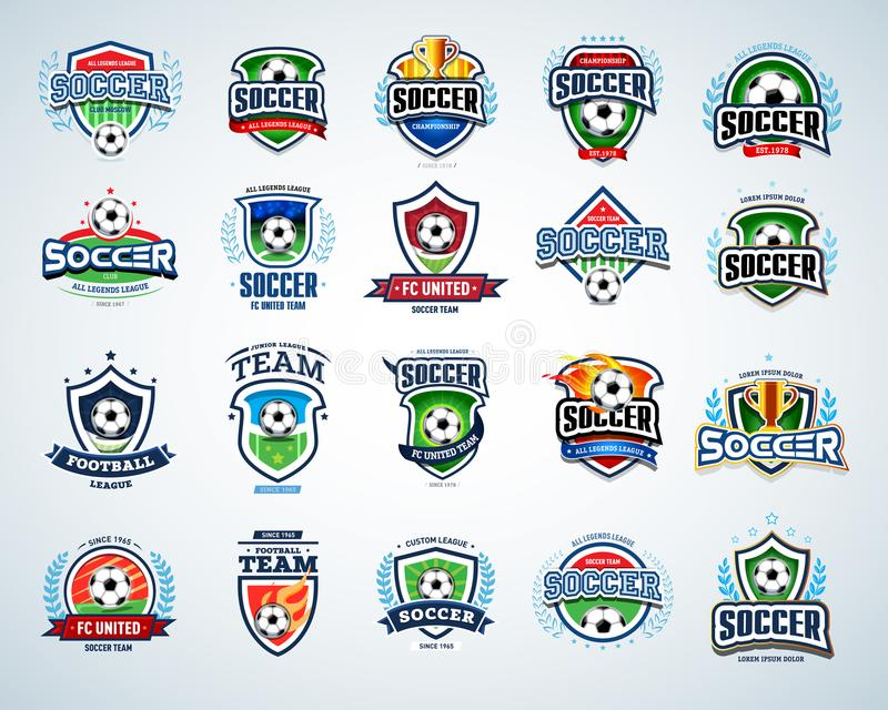 Calibres de logo du football réglés Logotypes du football L'ensemble de crêtes du football du football et d'emblème de calibre de illustration de vecteur