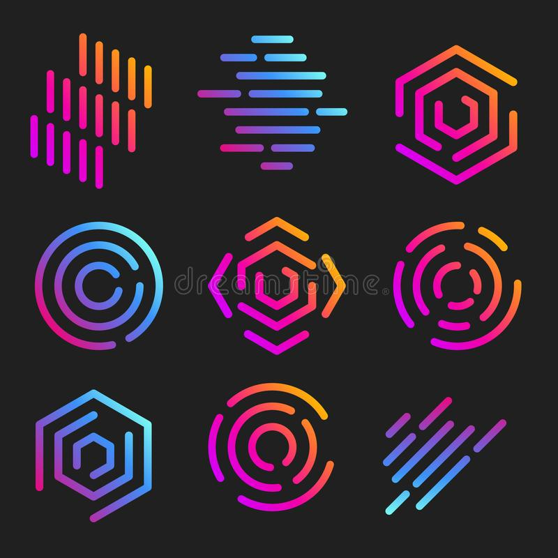 calibres de logos de schéma Logotypes linéaires abstraits Collection géométrique colorée d'icônes Le contour innovent illustration libre de droits