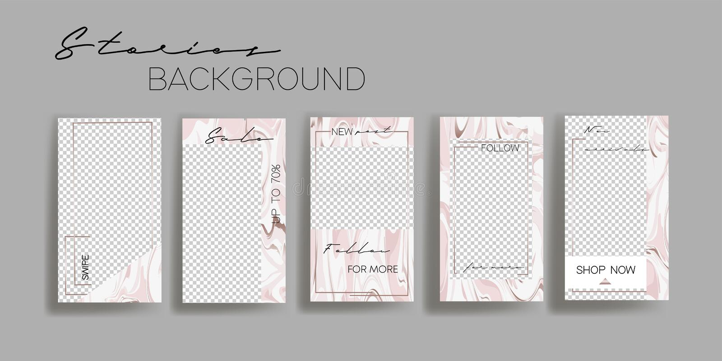 Calibres de marbre abstraits de cadre d'histoires d'Instagram Fond de vecteur Maquette pour la bannière sociale de médias illustration stock