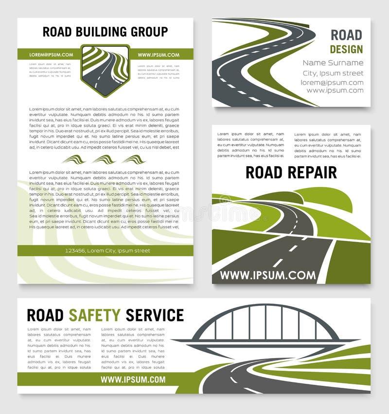 Calibres de vecteur de service des réparations de construction de routes illustration stock