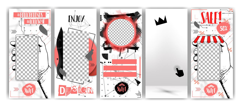 Calibres editable à la mode pour des histoires sociales de réseaux, vente noire de vendredi illustration libre de droits