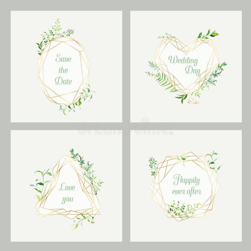 Calibres floraux d'invitation de mariage réglés Sauvez les cadres de date avec l'endroit pour le texte et les feuilles tropicales illustration libre de droits