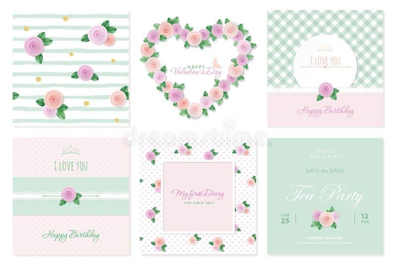 Calibres floraux de carte réglés Anniversaire, valentines, mariage, fête de naissance, couverture de carnet Modèles et cadres illustration de vecteur