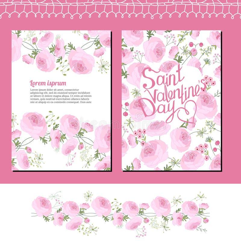 Calibres floraux de mariage et de Valentine s avec les roses roses illustration stock