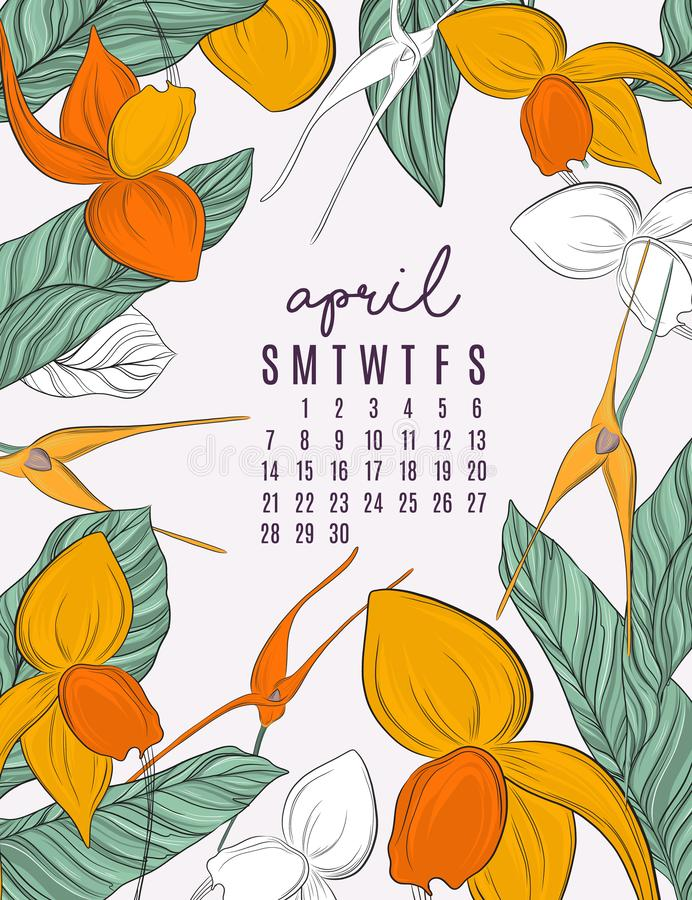 Calibres imprimables de calendrier de vecteur 2019 pour avril Les fleurs et les feuilles de jungle contrastent le calibre d'illus illustration de vecteur