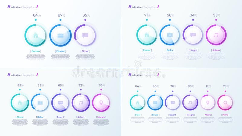 Calibres infographic editable modernes de vecteur avec des diagrammes de pourcentage illustration de vecteur