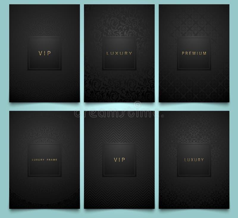 Calibres noirs réglés d'emballage de vecteur avec la texture géométrique et florale linéaire brillante de modèle de damassé pour  illustration libre de droits