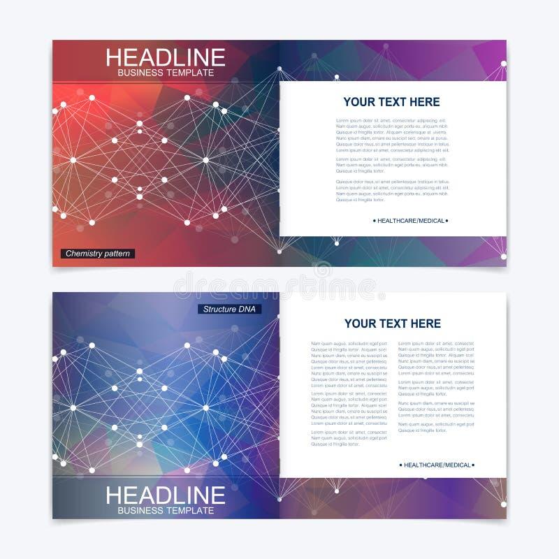 Calibres pour la brochure carrée Présentation de couverture de tract Affaires, la science, disposition de livre de conception de  illustration libre de droits