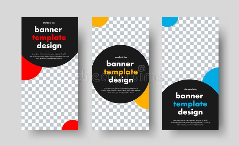 Calibres pour les bannières verticales de Web avec un cercle de noir et de couleur et un endroit pour une photo illustration stock