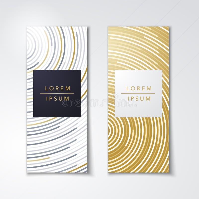 Calibres réglés de carte ou d'affiche d'emballage d'illustration de vecteur avec la texture de luxe différente d'or avec le style illustration stock