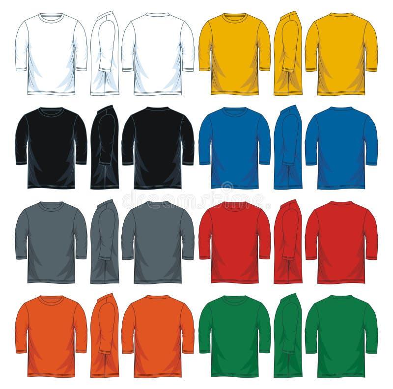Calibres ronds de trois quarts de T-shirt du cou des hommes, illustration de vecteur illustration stock