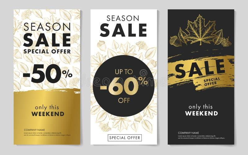 Calibres saisonniers de tracts de vente avec le modèle d'automne dans des couleurs noires et d'or illustration libre de droits