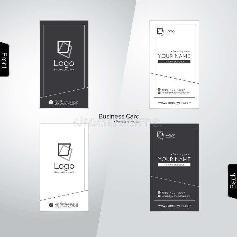 Calibres verticaux gris et blancs modernes de vecteur de carte de visite professionnelle de visite illustration stock