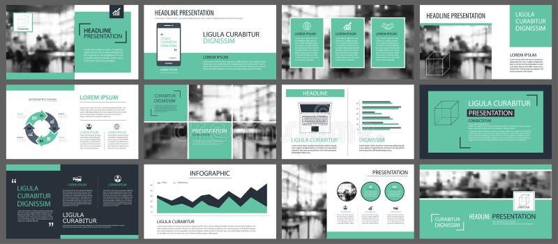 Calibres verts de présentation pour le CCB d'éléments d'infographics de glissière illustration de vecteur