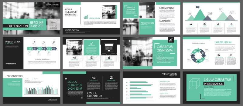 Calibres verts de présentation pour le CCB d'éléments d'infographics de glissière illustration stock