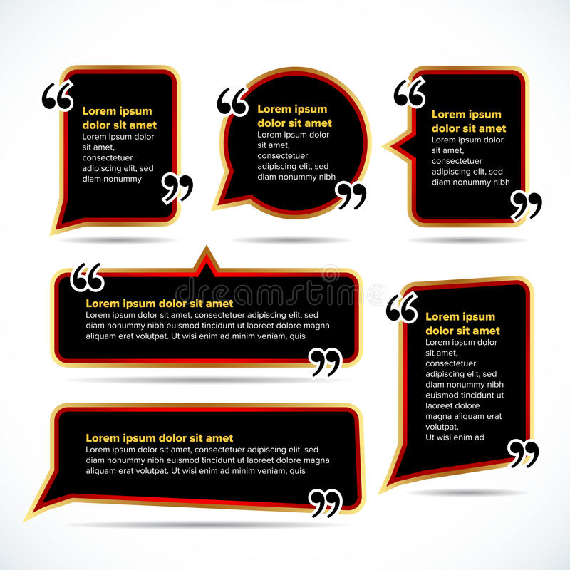 Calibres vides foncés de citation de couleur Bulle de citation Calibre vide Entourez le calibre de carte de visite professionnell illustration libre de droits