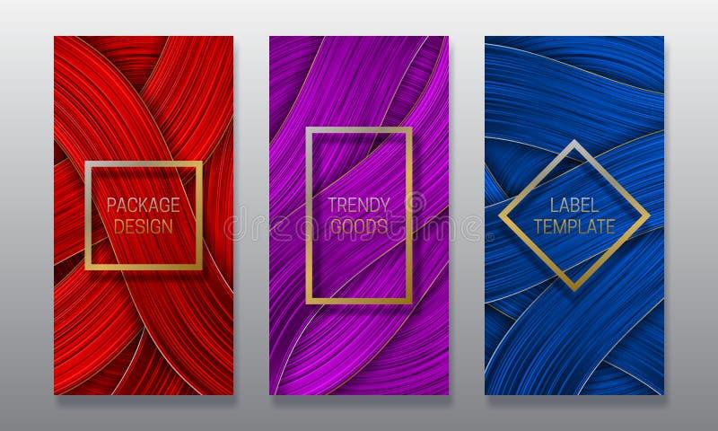 Calibres volumétriques de luxe de labels Placez de la conception d'empaquetage colorée pour les marchandises à la mode illustration libre de droits
