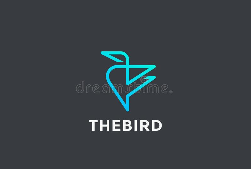 Calibri-Vogelzusammenfassung Logo-Designvektor linear T vektor abbildung