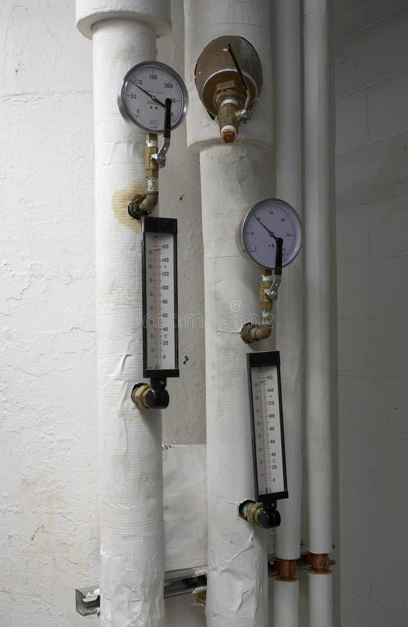 Calibro di aria e thermometrs immagine stock libera da diritti