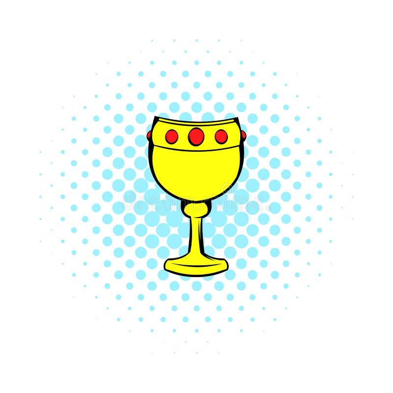 Calice avec l'icône de vin, style de bandes dessinées illustration stock
