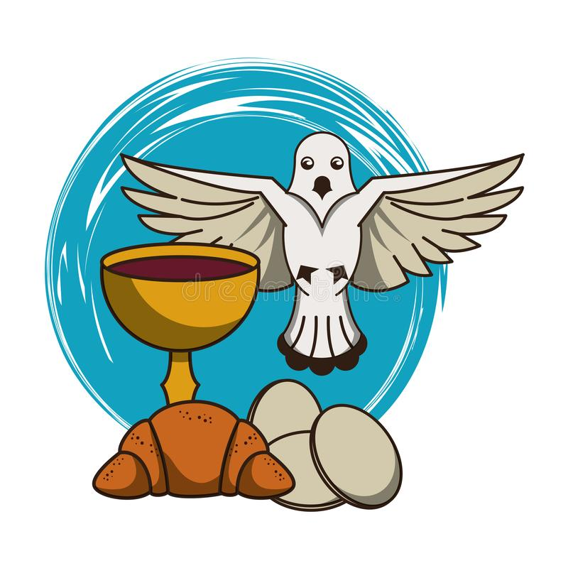 Calice catholique avec du vin illustration stock