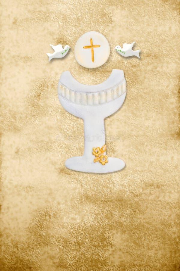 Calice da consacrazione verticale della pergamena della prima scheda di comunione royalty illustrazione gratis